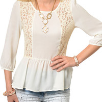 Ivory Sexy Sheer Chiffon Trendy Lace Cut Out Peplum Top