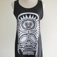 Indians Skull Barbarian Goth Gothic -- skull design art shirt women dress skull dress tank top tunic dress women shirt black t-shirt size s