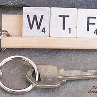 WTF Scrabble Tile Keychain on Luulla