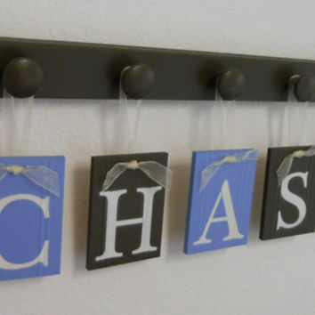 Custom Baby Boy Nursery Name Wall Sign, Personalized for CHASE Plates Painted in Light Blue and Chocolate Brown, Set Includes 5 Wooden Hooks