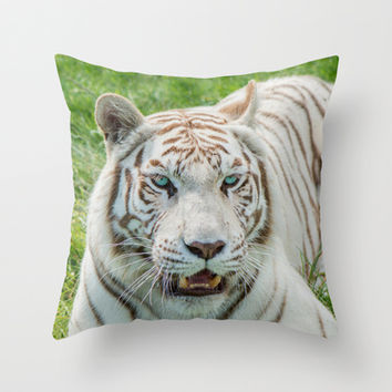 THE BEAUTY OF WHITE TIGERS Throw Pillow by Catspaws | Society6