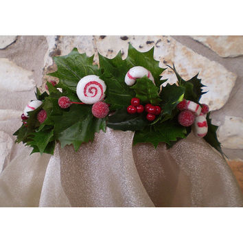 Floral peppermint candy head wreath Winter Wedding Yule flower crown Christmas womens accessory