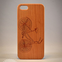 Vintage bicycle A086 Laser engraved Wood case for iPhone 4/4S/5 with mat plastic