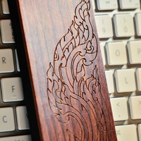 AsianThai Kanok Pattern A090 Laser engraved Wood case for iPhone 4/4S/5 with mat plastic and full wood case