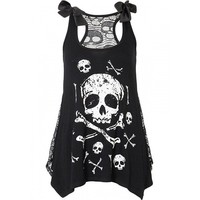 """Women's """"Skull and Crossbones"""" Top with Lace Back by Jawbreaker (Black)"""