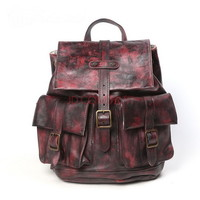 Rust distressed leather backpack for women