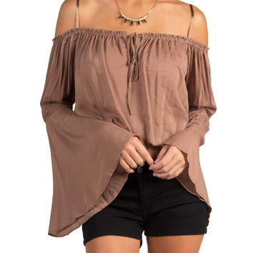 COLD SHOULDER FLARE SLEEVE CROPPED PEASANT TOP - BROWN