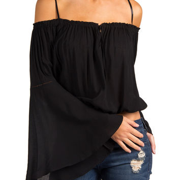 COLD SHOULDER FLARE SLEEVE CROPPED PEASANT TOP - BLACK