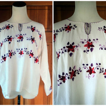 Vintage Hippie Blouse Mexican Embroidered Long Sleeve Boho Top Muslin Gauze Festival Top