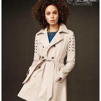 Aeropostale Pretty Little Liars Spencer Studded Trench Coat - Tan 269, X-Small