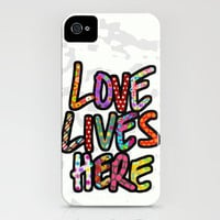 LOVE LIVES HERE light iPhone Case by Sharon Turner | Society6
