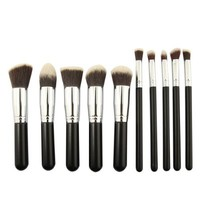 10 Pcs Powder Blush Foundation Contour Makeup Brushes Set Cosmetic Tool (black_silver)