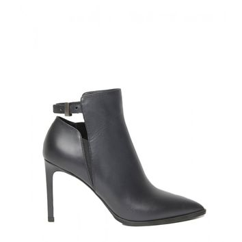 Vince Calla Cut-Out Leather Bootie - Black Leather Ankle Boots - ShopBAZAAR