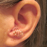 "No Piercing ""Spiraling"" Ear Cuff for Anti Tragus 1 Cuff - Copper or 17 Color Choices"