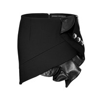 Anthony Vaccarello - Mini-Skirt with Leather Ruffle and Button Embellishment