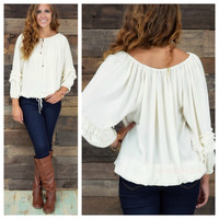 Misty Point Taupe Ruffle Sleeve Peasant Blouse