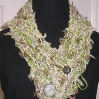 Scarf, Ascot Knit in Green, Beige Novelty Yarns with Vintage Buttons