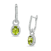 Oval Peridot and Lab-Created White Sapphire Frame Drop Earrings in Sterling Silver