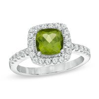 7.0mm Cushion-Cut Peridot and Lab-Created White Sapphire Frame Ring in Sterling Silver - Size 7