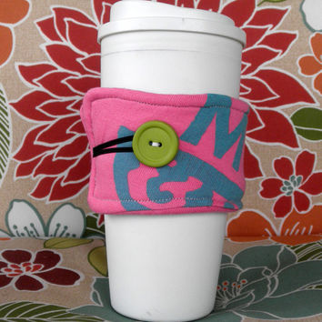 Upcycled T-Shirt Coffee Cozy in Pink and Teal