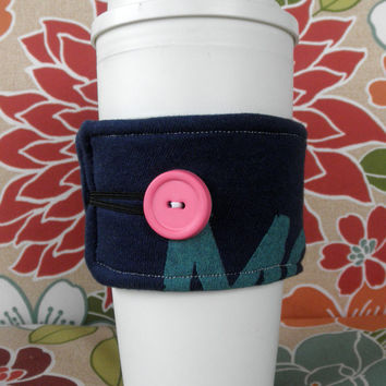 Upcycled T-Shirt Coffee Cozy in Blue and Teal