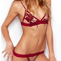 For Love & Lemons Skivvies Rose Bud Bra in Blood Red | Boutique To You