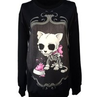 Gothic Clothing Sweatshirts Skull Cat Hoodies Pullovers Sweater For Women
