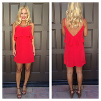 Flaming Red Crochet Lace Trim Dress