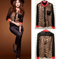 Fashion Women Chiffon Leopard Print Button Down Long Sleeve T-Shirt Tops Blouse