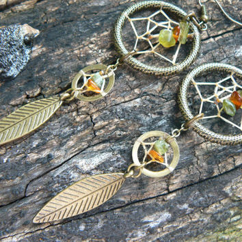 double dreamcatcher earrings Brass tourmaline and Amber new age zen boho hipster hippie tribal native american inspired  gypsy style