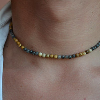 MENS BEADED NECKLACE Jasper Labrodorit Necklace Men Jewelry Gem stone  Necklace