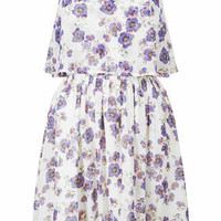 Floral Crop Overlay Dress - Multi