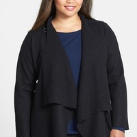 Eileen Fisher Drape Neck Boiled Wool Jacket (Plus Size)