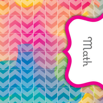 Back to School! Swirly Paint Binder Dividers - Math Class