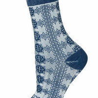 Reverse Pattern Socks - Navy Blue