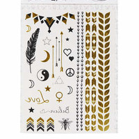 Gold Foil Temporary Tattoos - Black