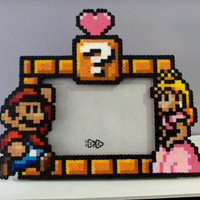 Mario and Princess Peach Perler Picture Frame
