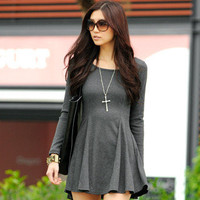 YESSTYLE: SO Central- Long Sleeve Ribbed Skater Dress (Gray - One Size) - Free International Shipping on orders over $150