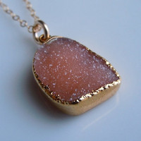 Druzy Necklace in Burnt Sienna