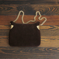 vintage brown suede & gold purse / chain strap 70s purse