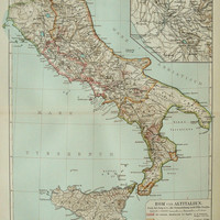 1897 Antique map of ANCIENT ITALY. Roman Empire. 117 years old chart.
