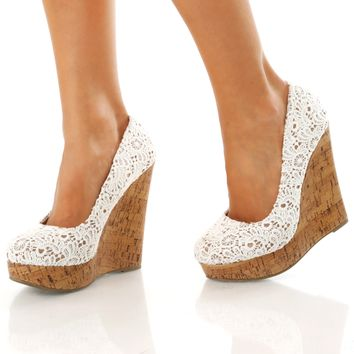 The Long Lace Wedges: White | Hope's