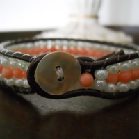 Coral and Mint Beaded Leather Bracelet