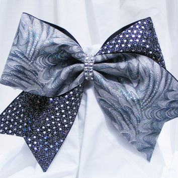 Cheer bow - Grey swirls with glitter and sliver on black sequins with a rhinestone center.  Cheerleader bow - dance bow - Cheerleading bow