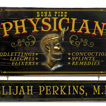 Vintage Physician Plaque with Custom Hanging Name Plank