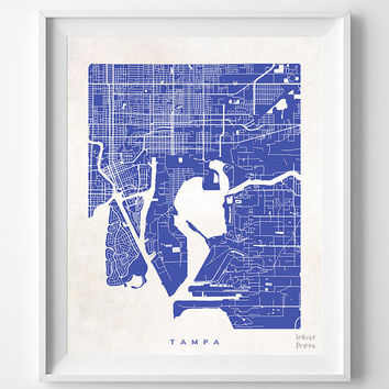 Tampa, Florida, Map, State, Print, Beautiful, Nursery, Poster, Wall Decor, Town, Illustration, Room, Art, World, Street [NO 534]