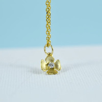 Mini CZ Flower Necklace, Gold Plated Brass, Cubic Zirconia Delicate Chain, Everyday Wear, Perfect Gift