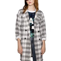 Plaid Neoprene Boyfriend Coat