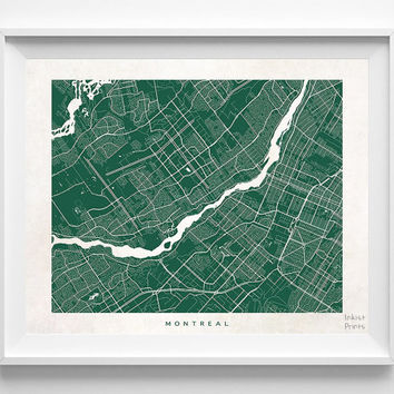 Montreal, Canada, Map, State, Print, Nursery, Poster, Wall Decor, Town, Illustration, Pretty, Room, Art, Cute, World, Street [NO 511]