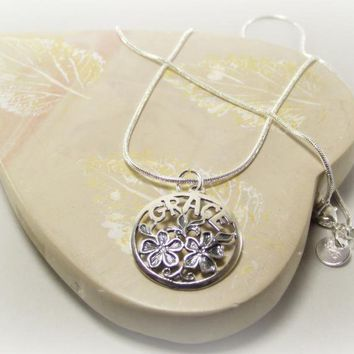 Sterling Silver GRACE with Powder Blue Flower Pendant Necklace by DesignedbyAudrey on Zibbet